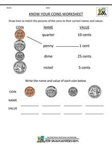 money identification free math money worksheets 1st grade