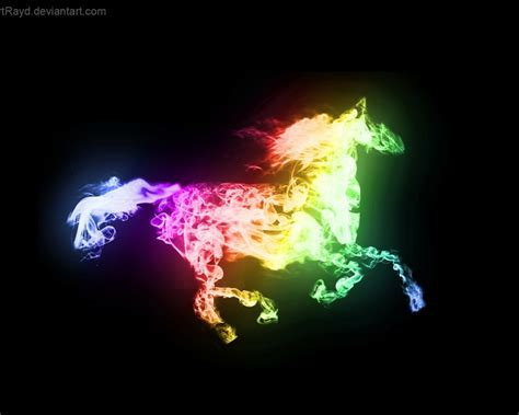 Glowing Animal Wallpaper - light abstract design glowing horses metalic