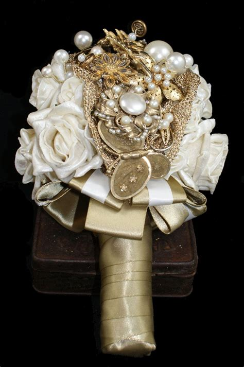 Vintage Brooch Bouquet Gold Bouquet Bespoke Wedding
