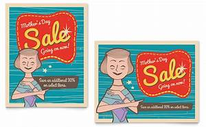 Retro Mother's Day Sale Poster Template Design