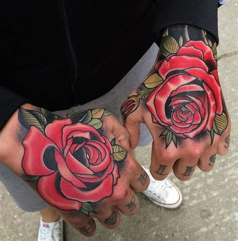 Red Roses Hand Tattoo  Best Tattoo Ideas & Designs