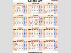 Kalender 2016 mit ExcelPDFWordVorlagen, Feiertagen