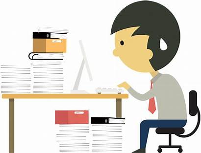 Cartoon Hard Businessman Clipart Desk Toil Working