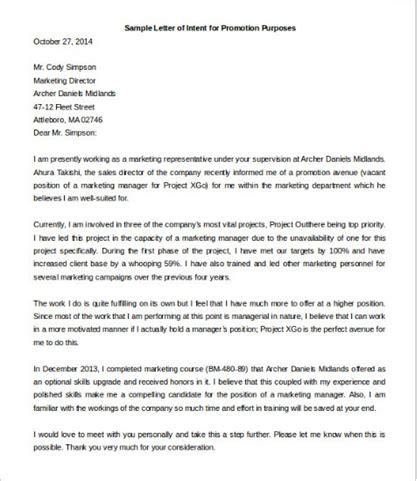 sample letter  intent  promotion proposesletter