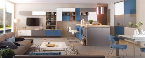 prix des cuisines mobalpa cuisine moderne îlot central blanc gris et bleue ambiance