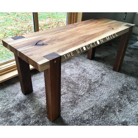 handmade hickory slab  walnut bench woodworking
