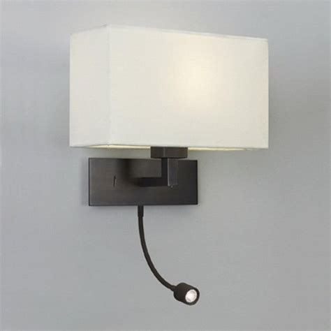 Bedroom Wall Lights Au by Bronze Wall Light With White Fabric Shade And Led Reading