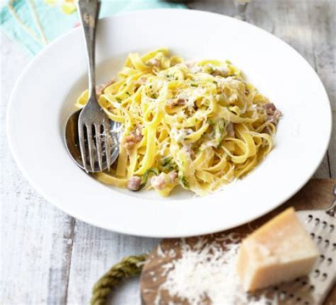 creamy courgette bacon pasta recipe bbc good food