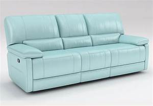 kuka maui light blue reclining sofa and reclining console With sectional sofa maui