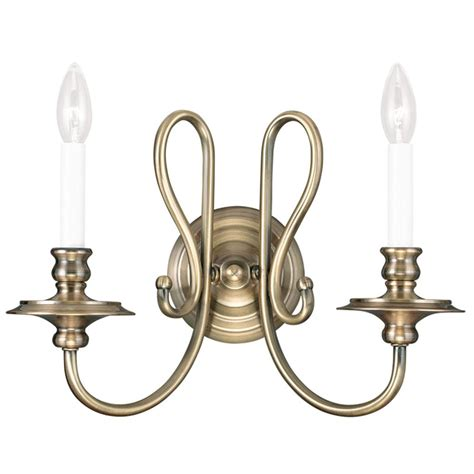 antique brass livex caldwell  light wall sconce candle