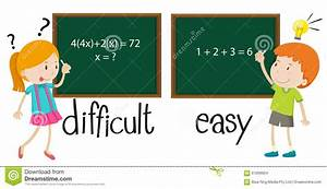 Opposite Adjectives Difficult And Easy Stock Vector ...