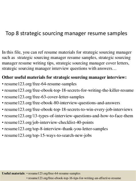 top 8 strategic sourcing manager resume sles