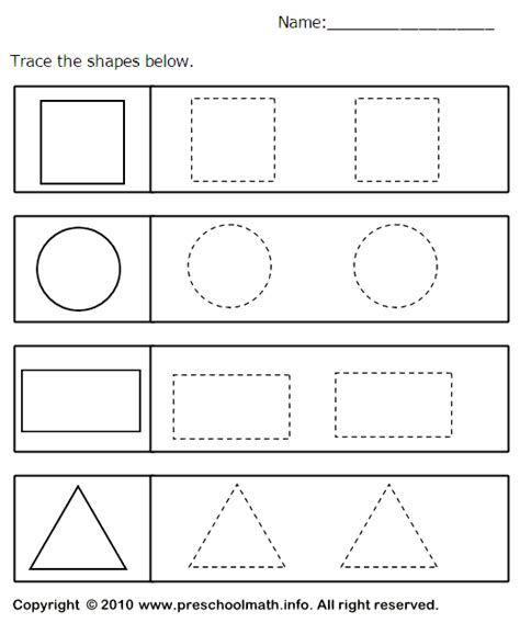 tracing geometric shapes worksheet table time