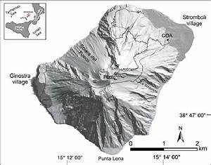1  Shaded Relief Map Of The Island Of Stromboli  Black