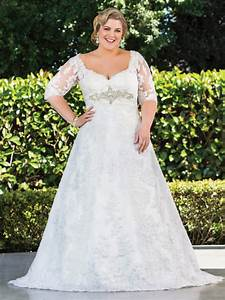 plus size wedding dresses with sleeves dressed up girl With lace plus size wedding dress