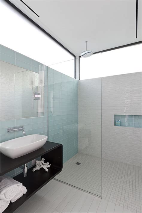 frosted glass tile bathroom modern with porcelain