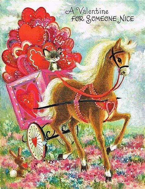 valentine horse pulling cart  cat hearts vintage