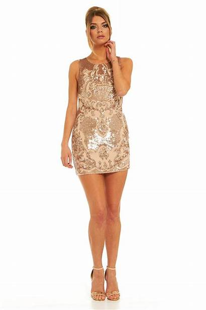 Sloan Thread Needle Gold Mini Dresses Rose