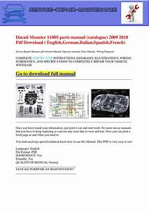Ducati Monster 1100s Parts Manual  Catalogue  2009 2010