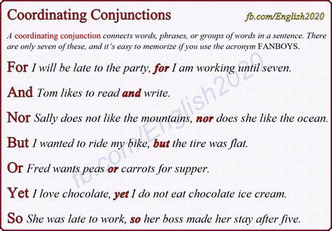 coordinating conjunctions fanboys linking words