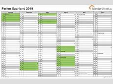 Ferien Saarland 2019 Ferienkalender zum Ausdrucken