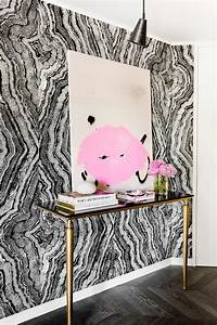 Black and White Agate Print Wallpaper with Marble and ...