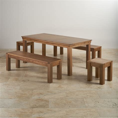 French Oak Dining Set  6ft Table With 2 Benches & Stools