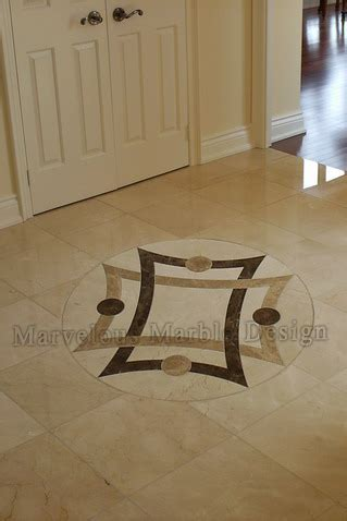 Simple Marble Medallions   Waterjet cut marble floor insert