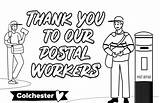 Thank Workers Key Massive Colouring Postal Wednesday Willquince sketch template