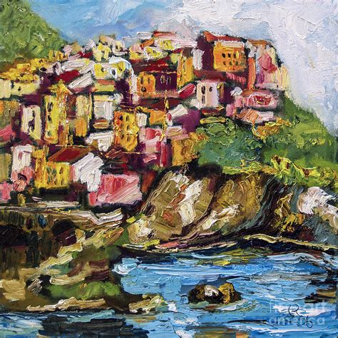 Manarola Italy Cinque Terre Painting By Ginette Callaway