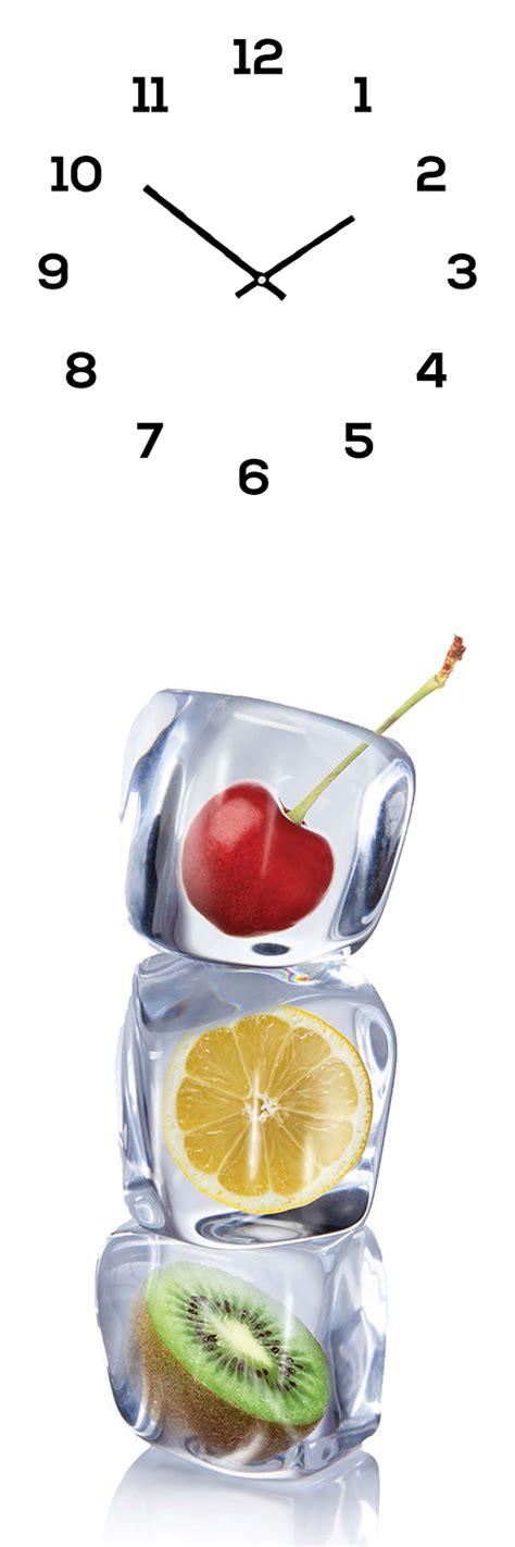 wanduhr aus glas wanduhr aus glas 20x60cm uhr als glasbild eisw 252 rfel obst