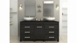 ensemble complet meuble de salle de bain noir vasques With meuble salle bain noir