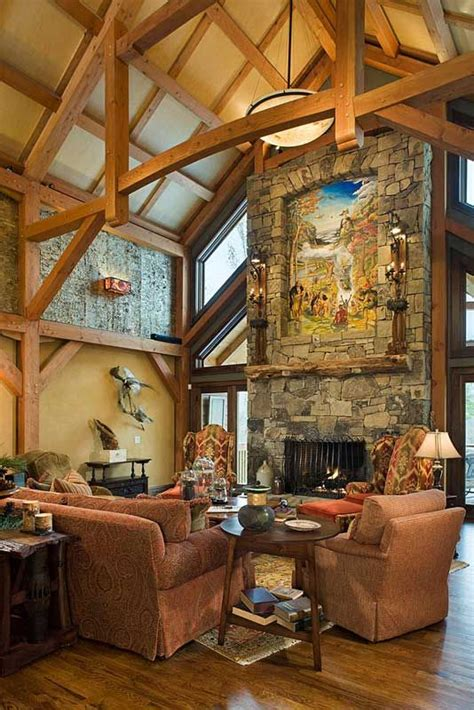 post  beam great room french country homes cabanas