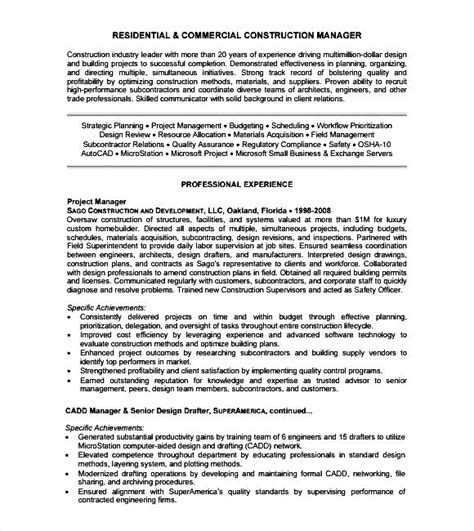 construction resume template free sle free sles
