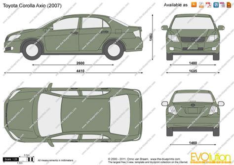 Toyota Corolla Dimensions by Toyota Corolla Axio Vector Drawing