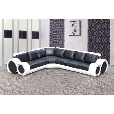 canapé d angle cuir noir et blanc salon canape dangle noir et blanc comforium