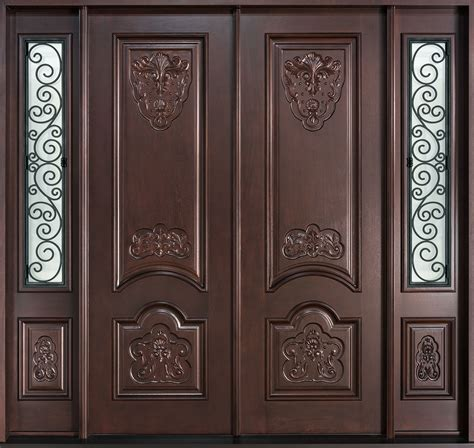 Front Door Custom   Double   Solid Wood with Dark Mahogany