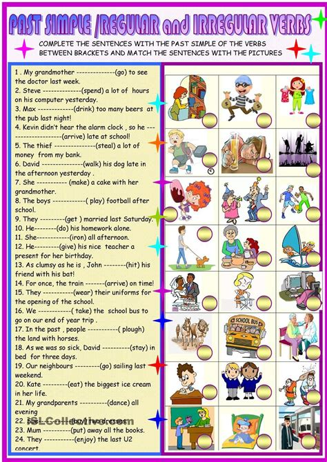 past simple regular and irregular verbs children