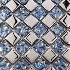 metallic mosaic tile mirror brushed blue kitchen With metallic mosaic bathroom tiles