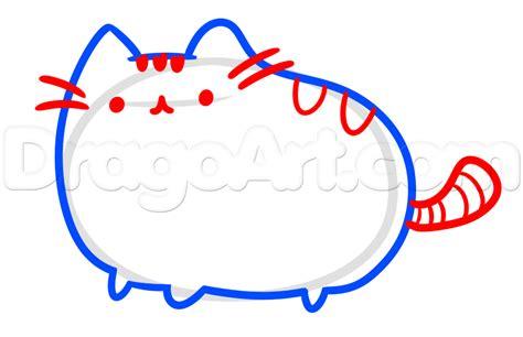 draw pusheen  facebook cat step  step