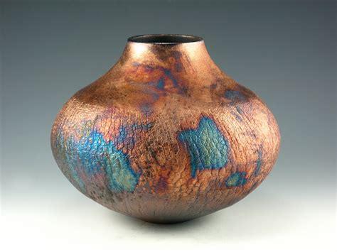 raku pottery raku pottery vase blue and copper penny by bethgoobic on etsy
