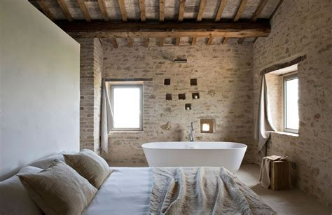 rustic bedroom and bathroom in the style of minimal