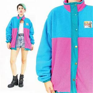 80s 90s Fleece Jacket Warm Fleece Neon from Honey Moon Muse