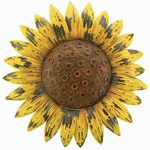 Sunflower giant rustic flower wall art metal garden for Sunflower wall decor