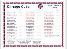 Printable 2018 Chicago Cubs Schedule