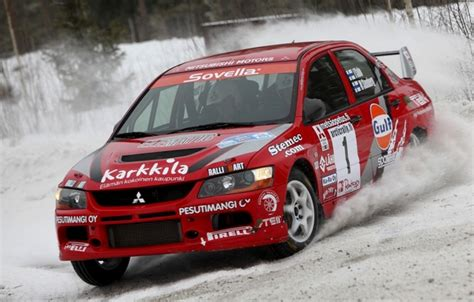 wallpaper red snow race mitsubishi lancer evolution