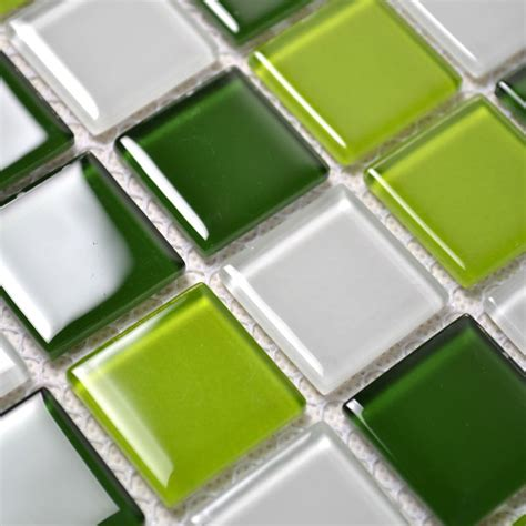 glass mosaic tile backsplash kitchen wall tiles green
