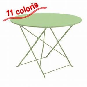 Table Pliante Metal : table jardin metal ronde pliante ~ Teatrodelosmanantiales.com Idées de Décoration
