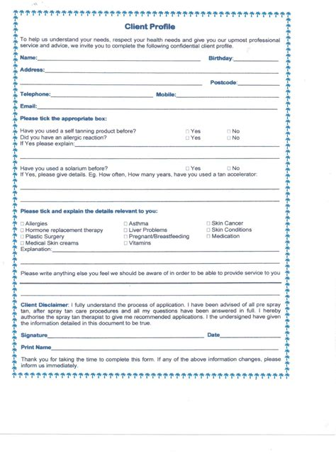 client profile template pin salon client consent form on