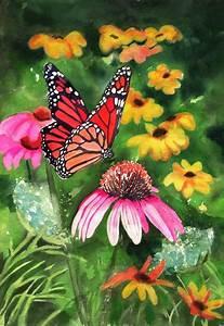 Flower Butterfly Cone Flower Print of an Art watercolor